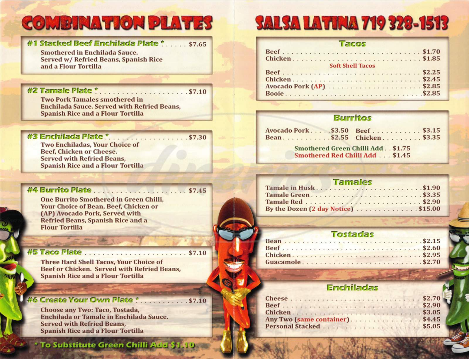 menu for Salsa Latina
