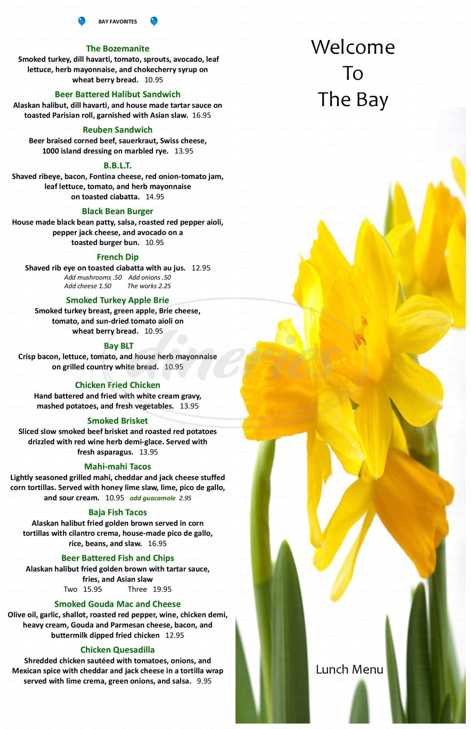menu for Bay Bar & Grille