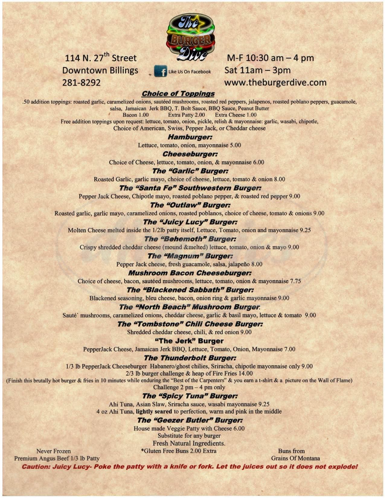 menu for The Burger Dive