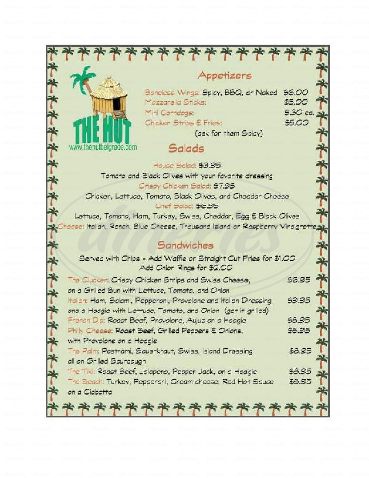 menu for The Hut