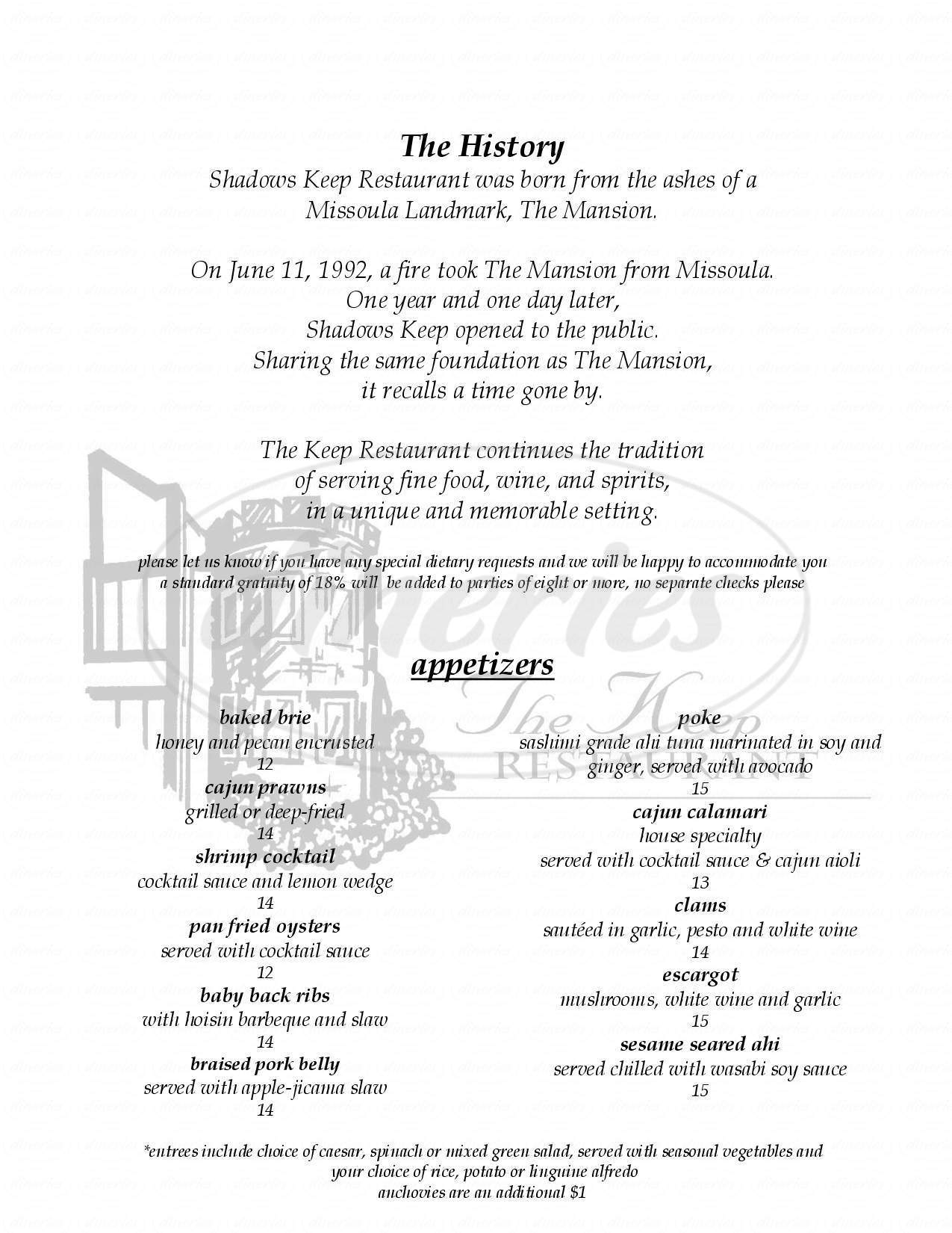menu for The Keep Restaurant