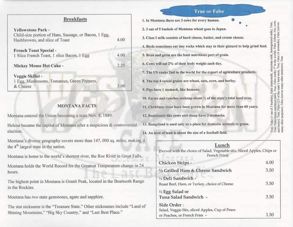 menu for Western Cafe