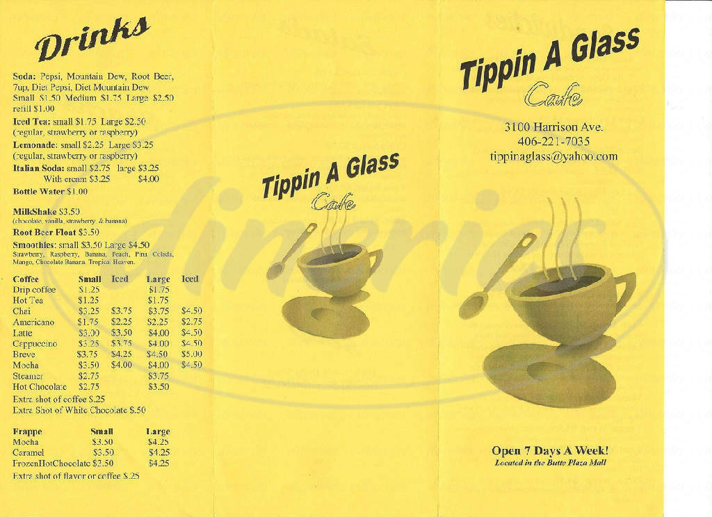 menu for Tippin A Glass