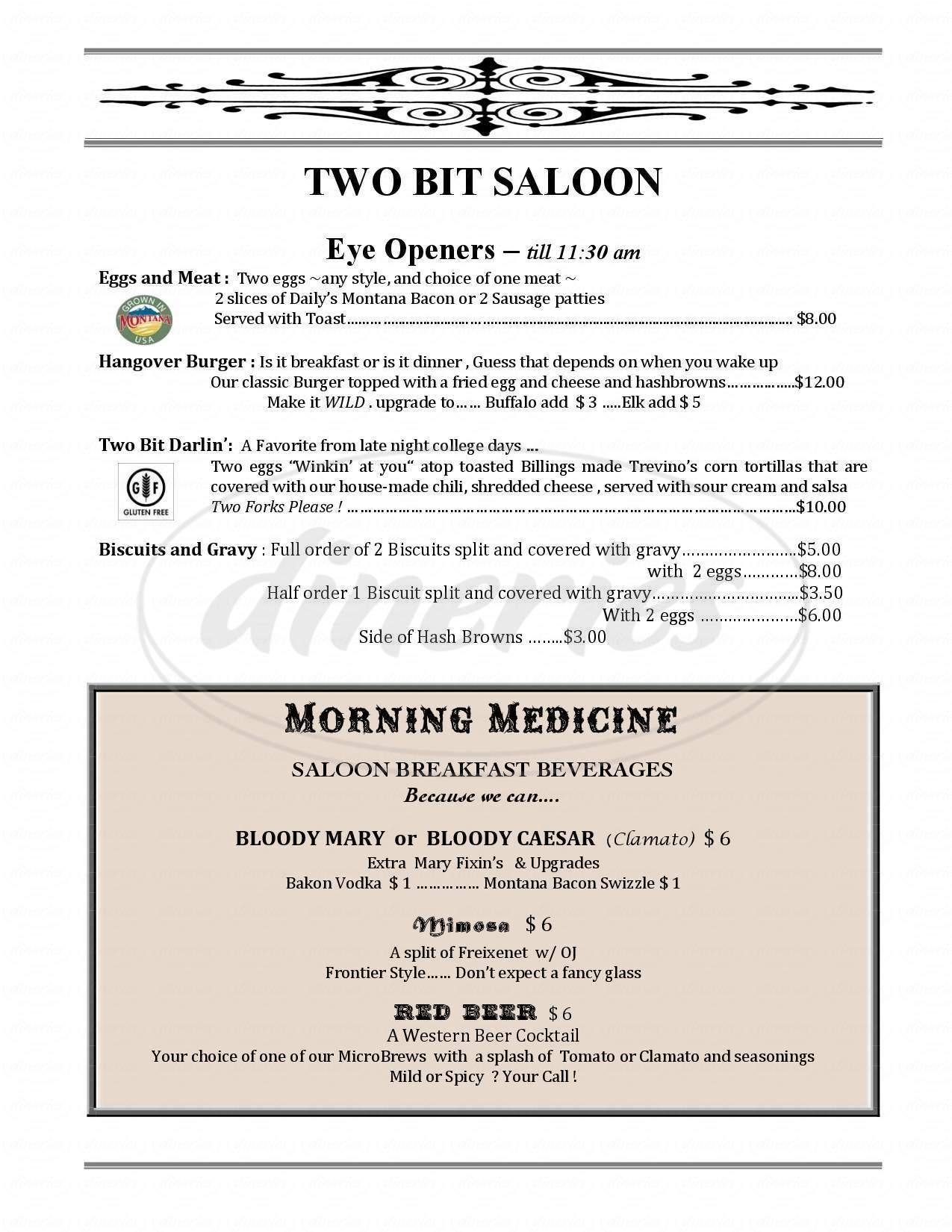 menu for Two Bit Saloon