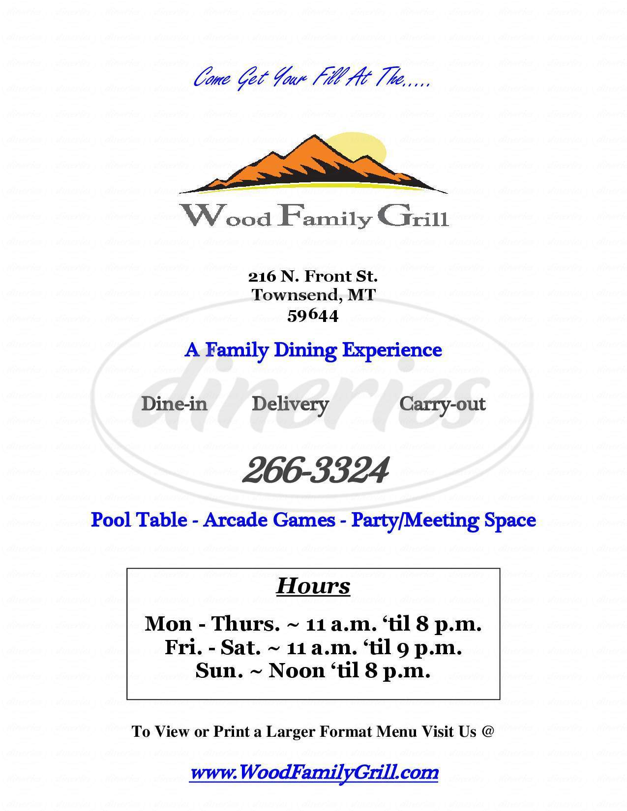 menu for Wood Family Grill