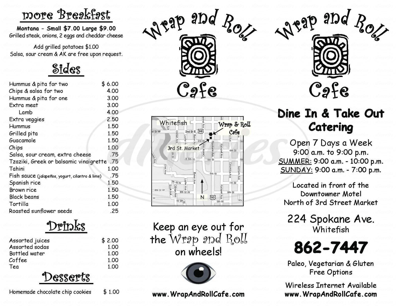 menu for Wrap & Roll Cafe