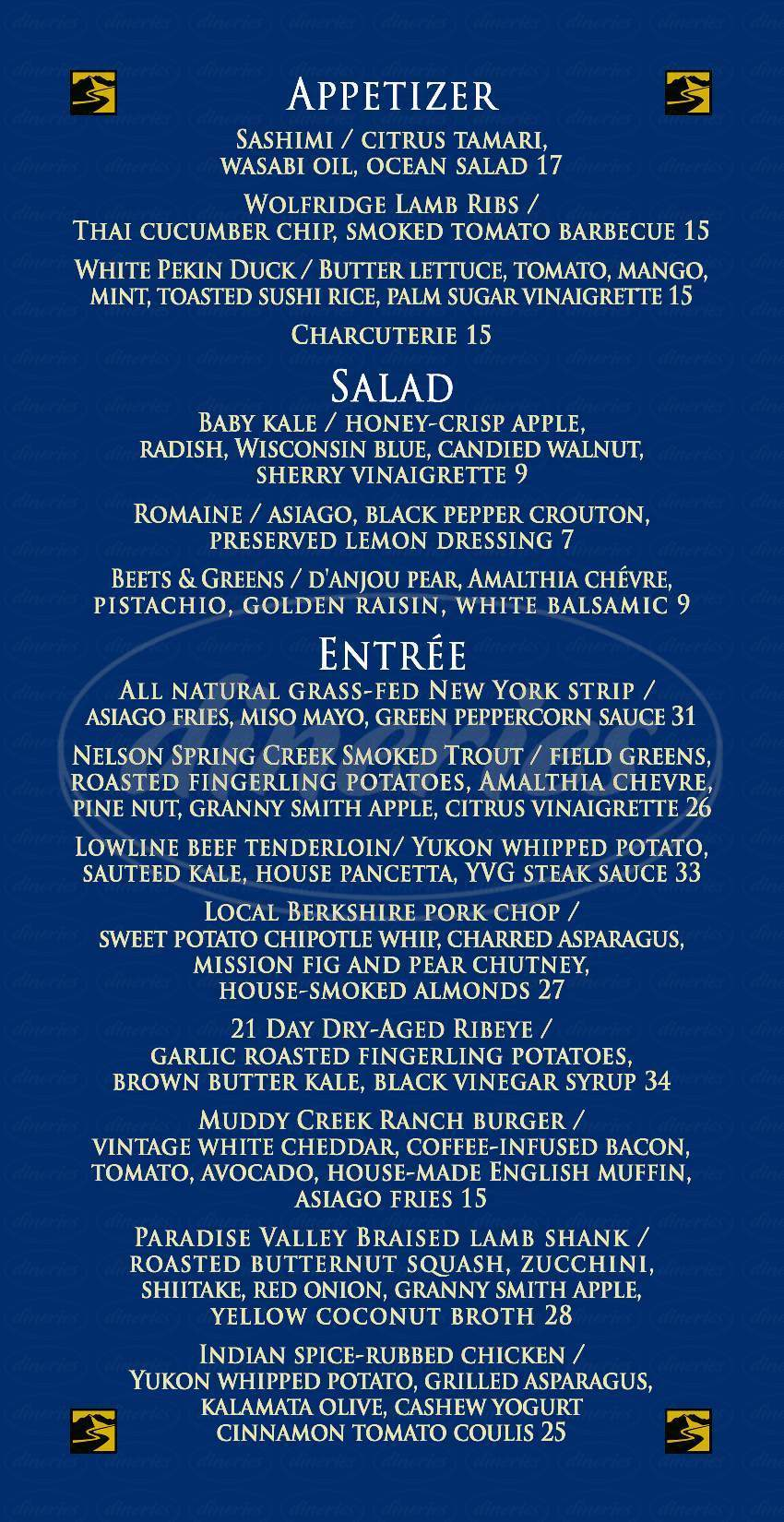 menu for Yellowstone Valley Lodge Restaurant