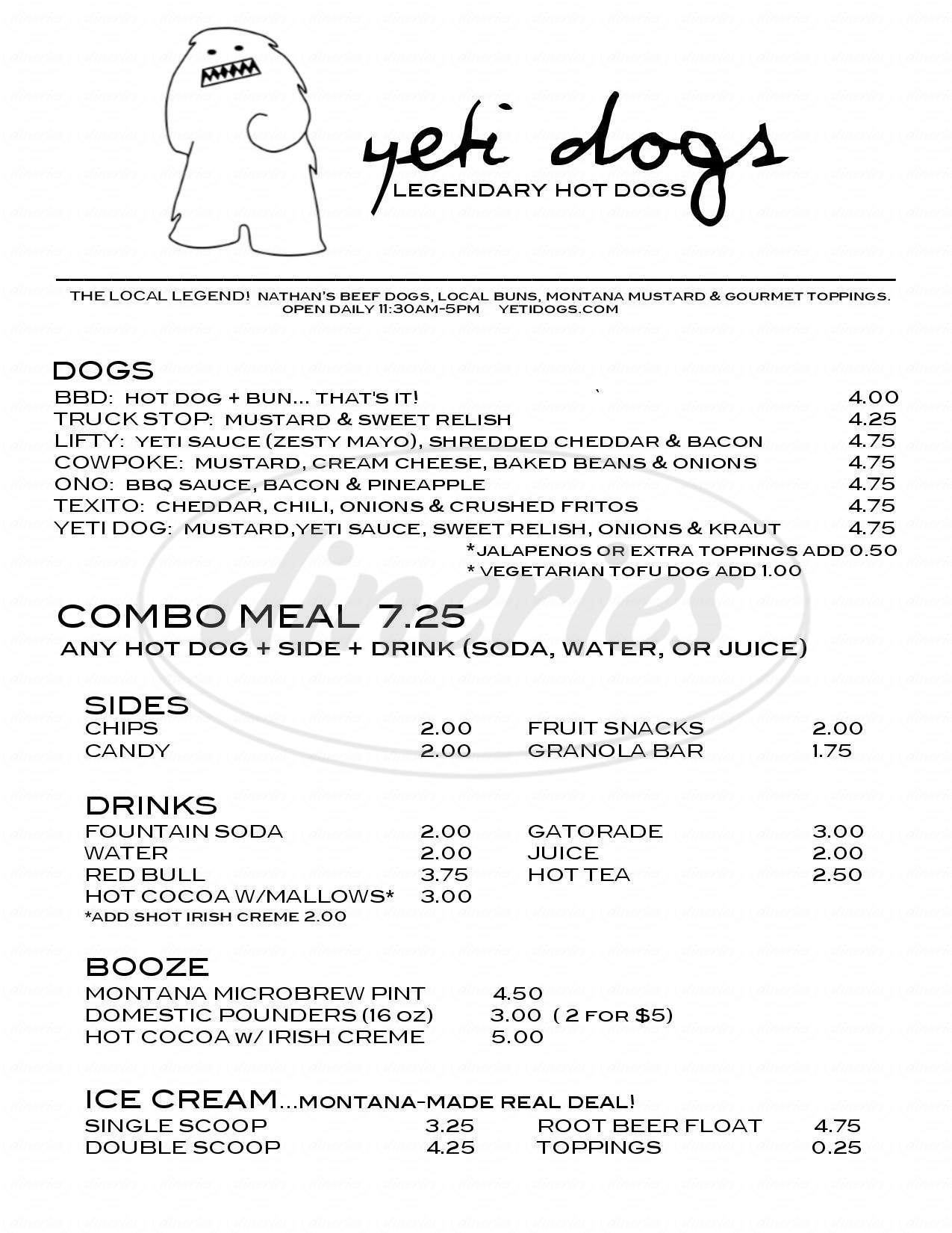 menu for Yeti Dogs