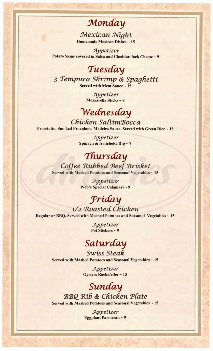 menu for Bullwinkle's Saloon & Restaurant