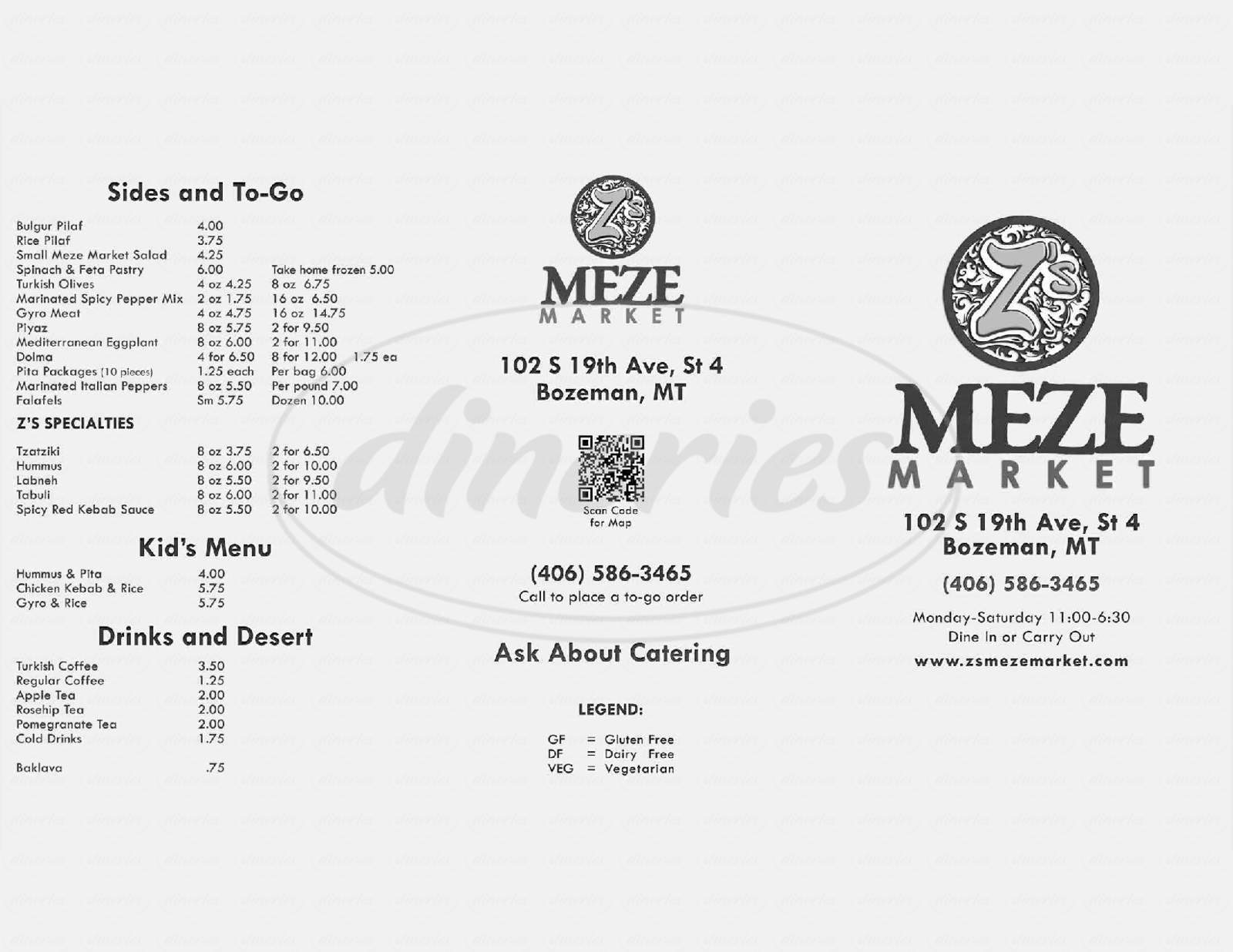 menu for Z's Meze Market