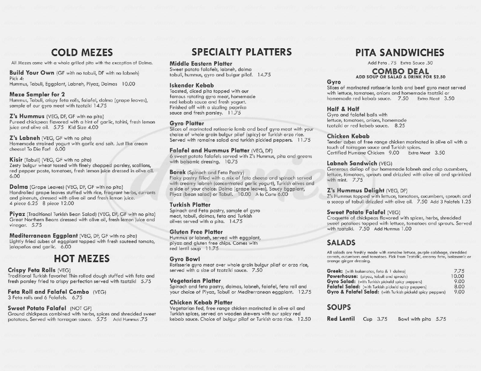 menu for Z's Meze Market