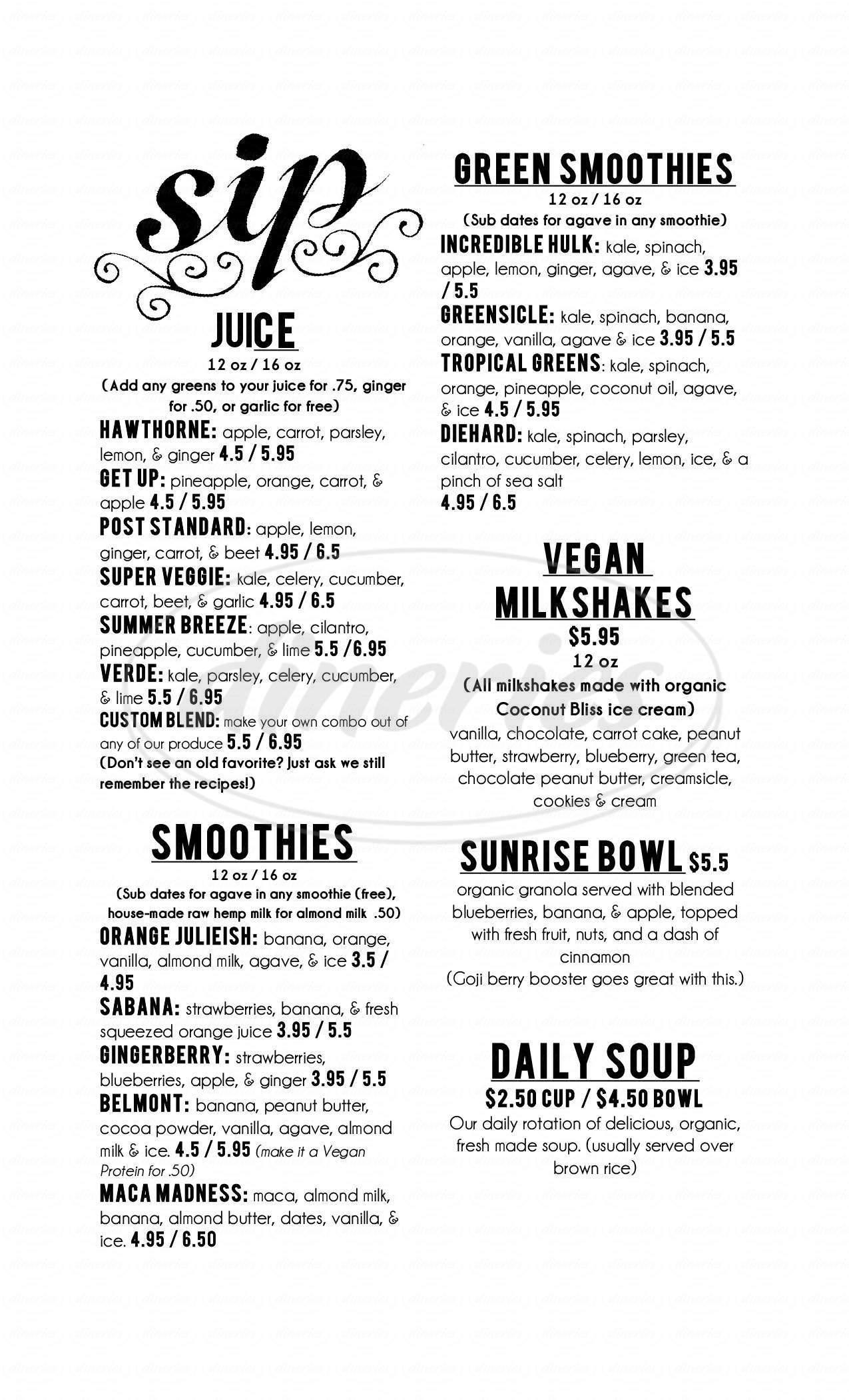 menu for Sip