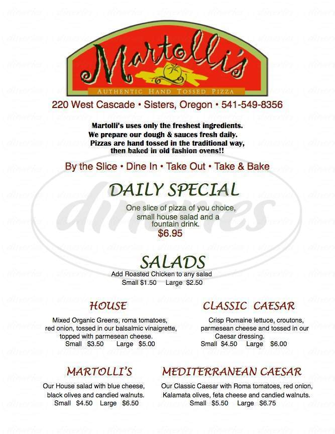 menu for Martolli's Pizza