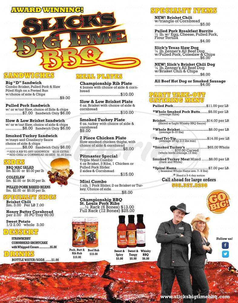 menu for Slick's Big Time BBQ