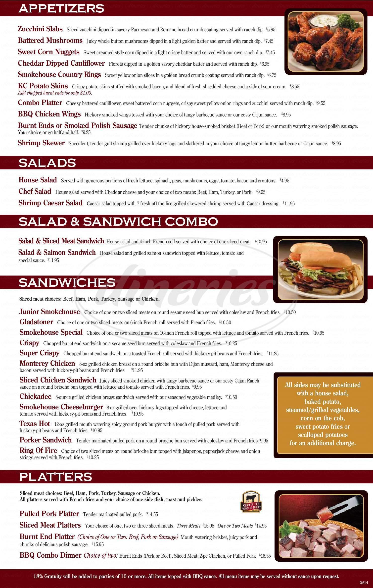 menu for Smoke House BBQ