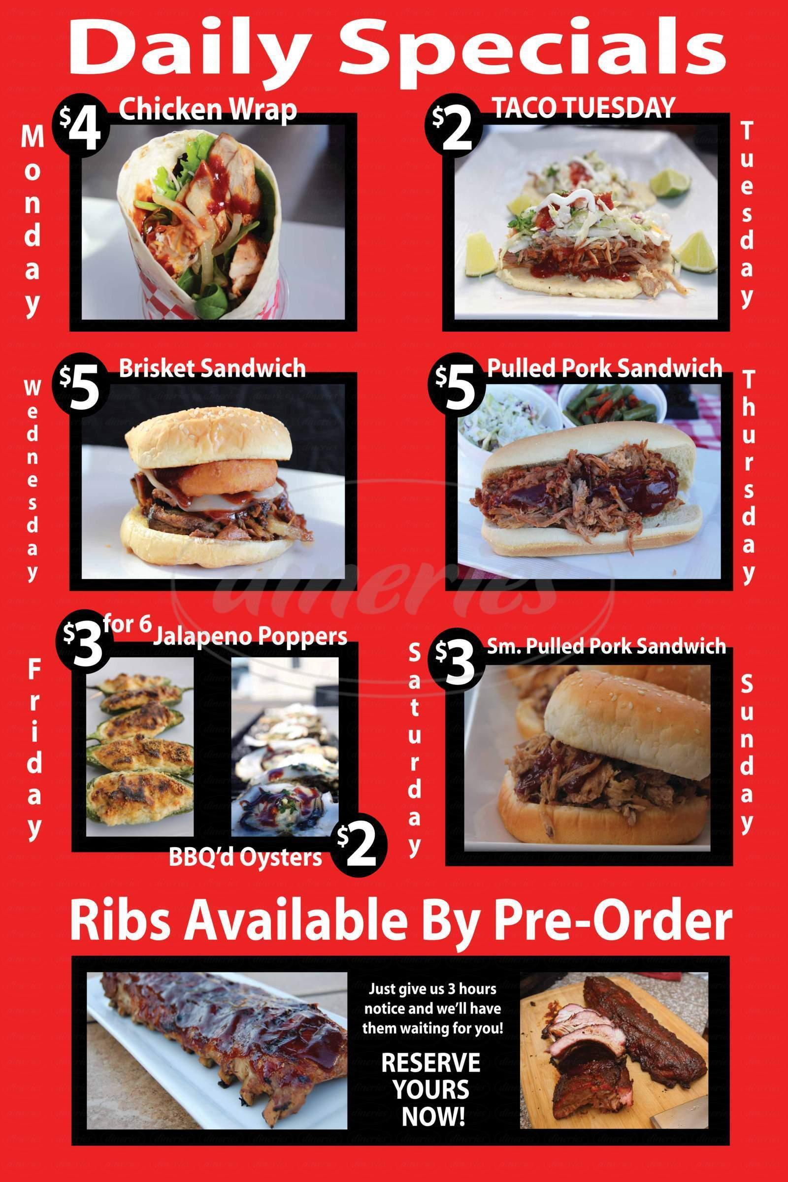 menu for Smokin' Friday BBQ