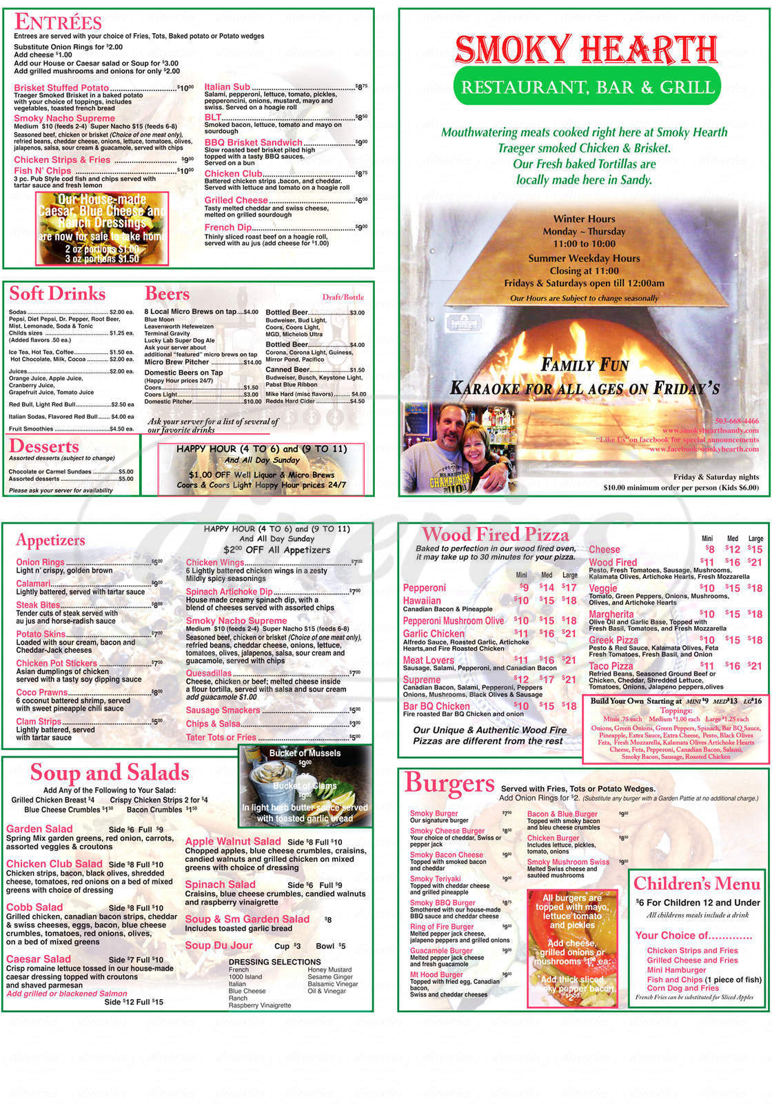 menu for Smoky Hearth Restaurant Bar & Grill