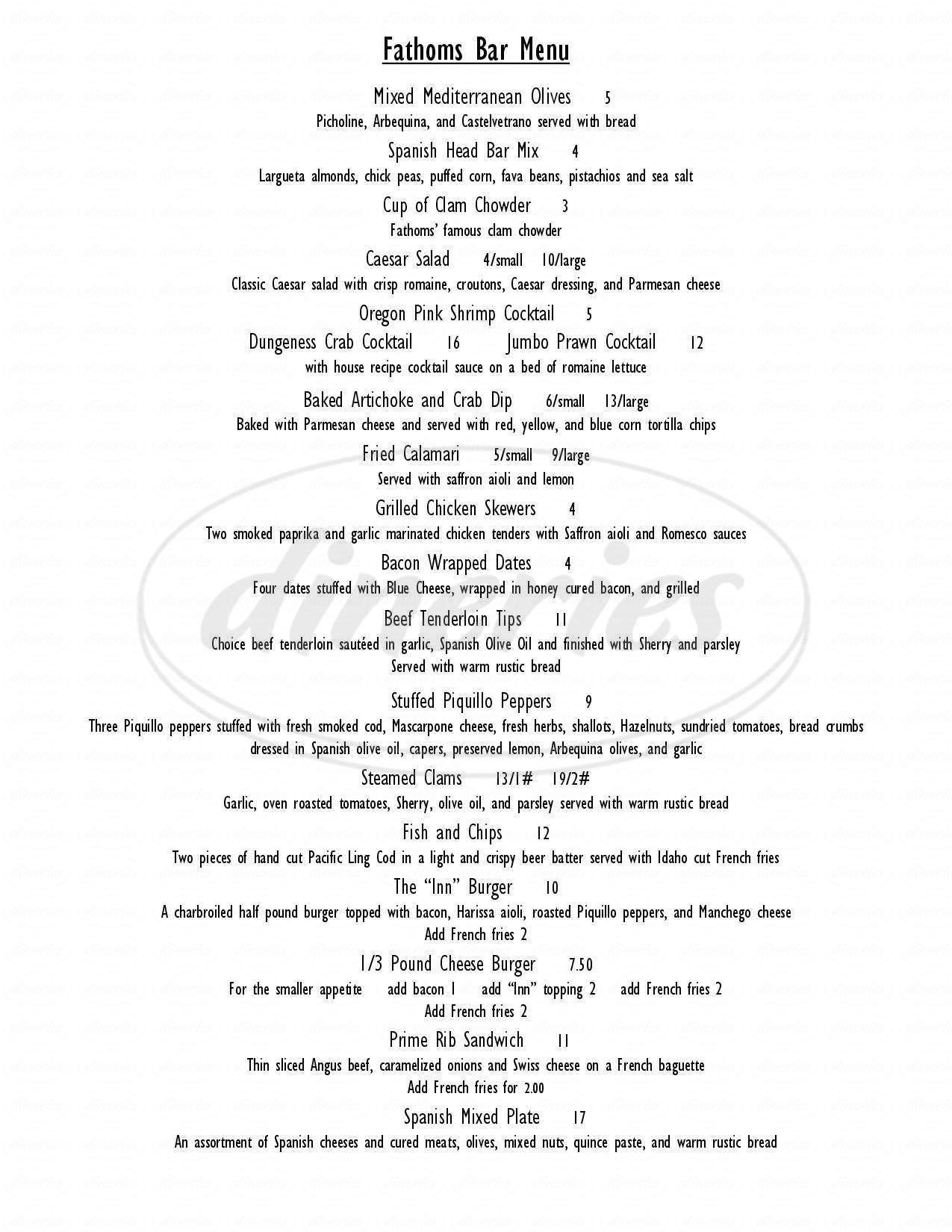 menu for Fathom's Restaurant