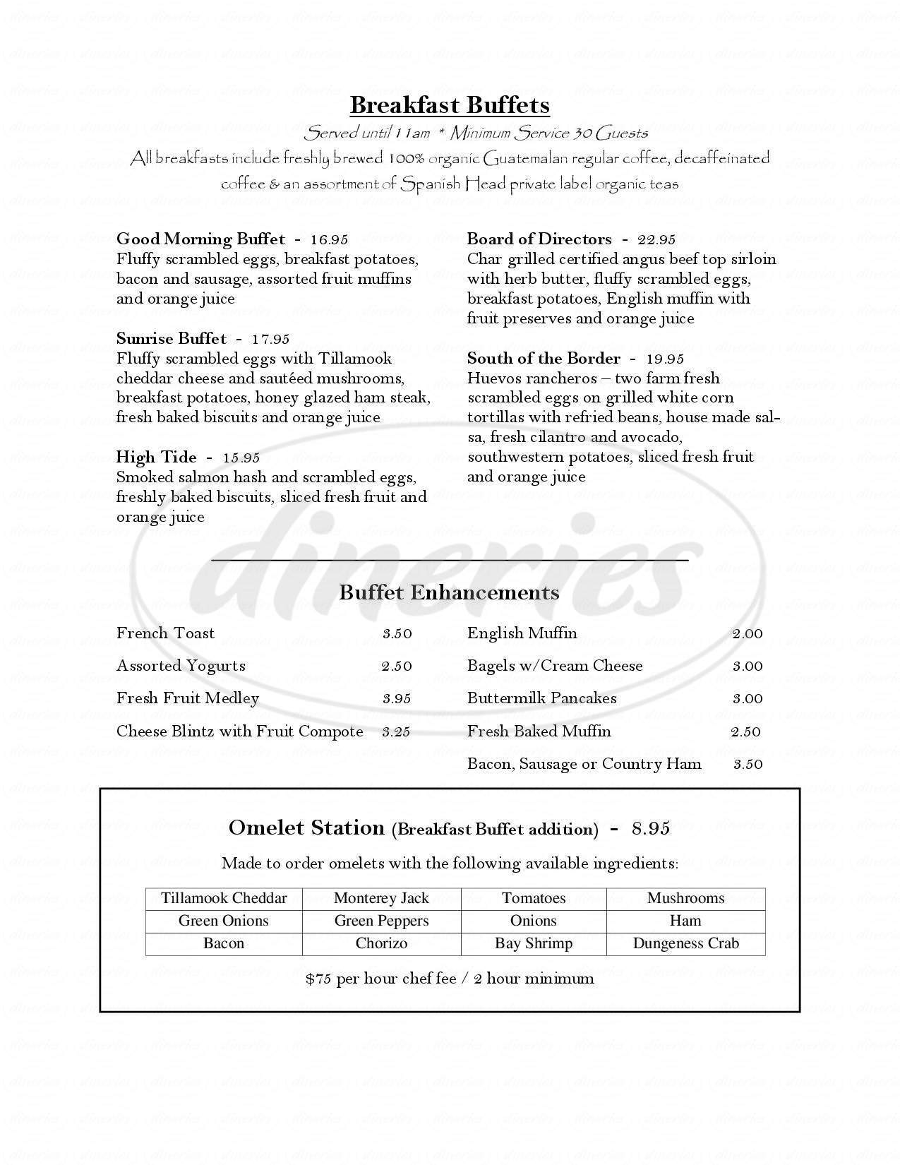 menu for Fathom's Restaurant