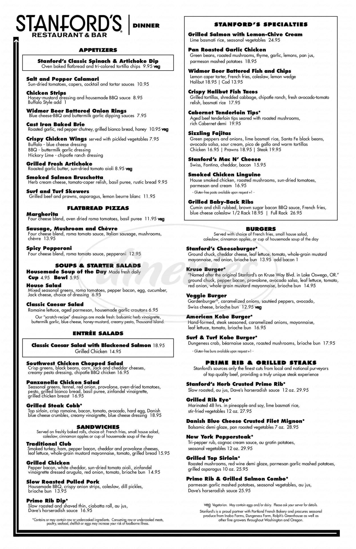 menu for Stanfords Portland