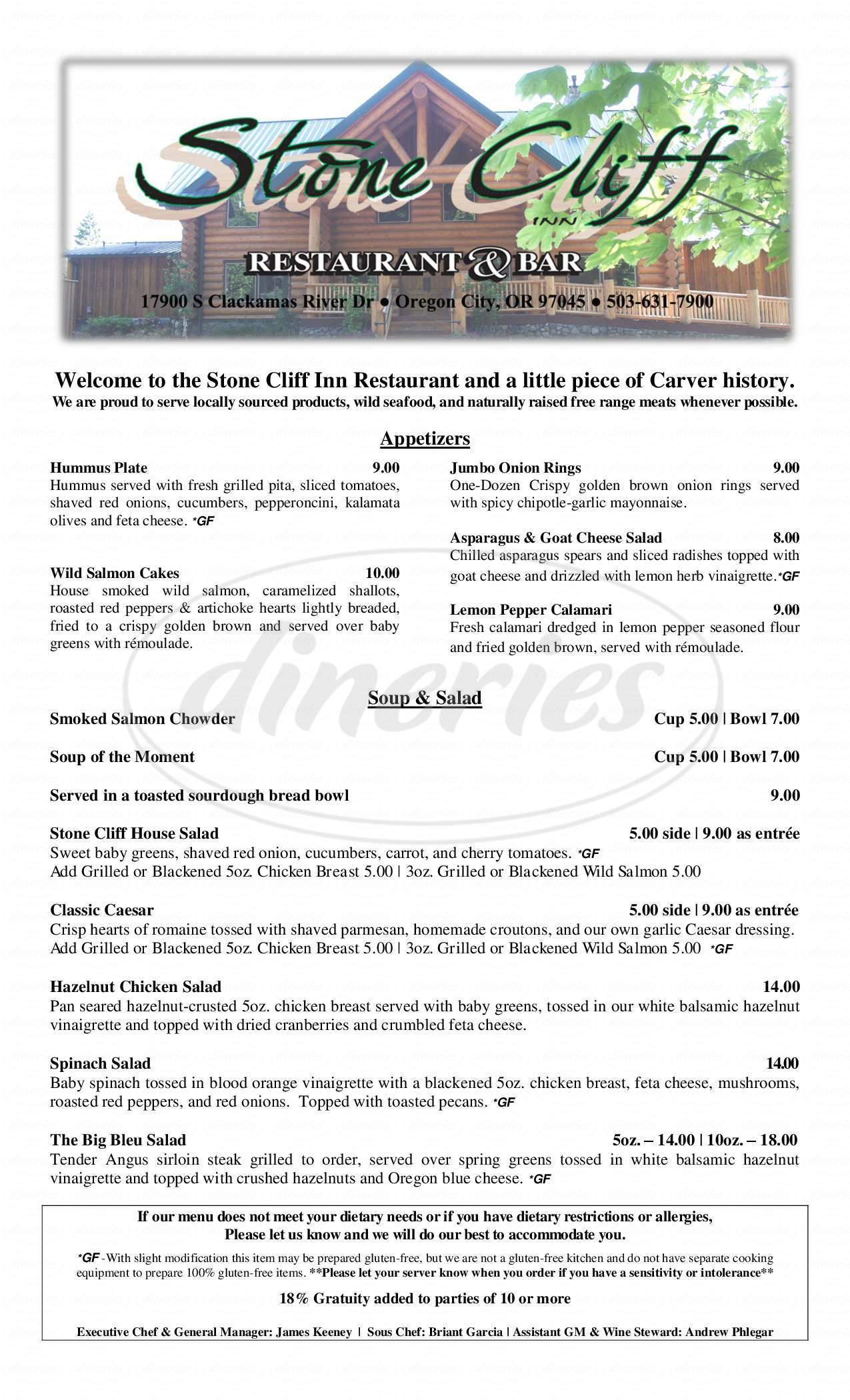 menu for Stone Cliff Inn
