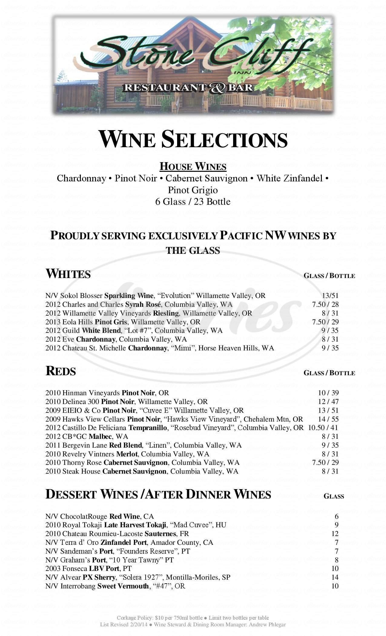 menu for Stone Cliff Inn