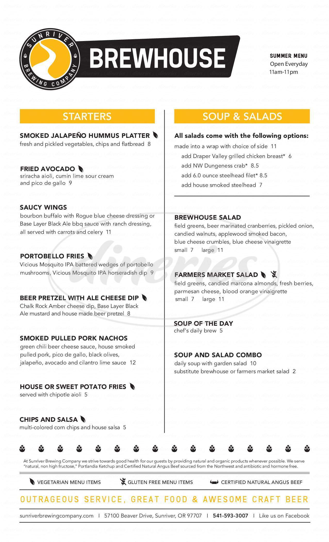 menu for Sunriver Brewhouse