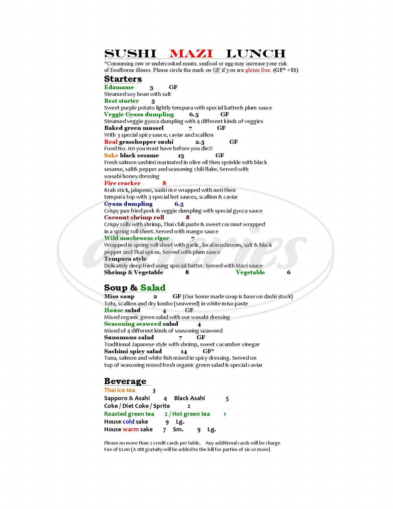 menu for Sushi Mazi