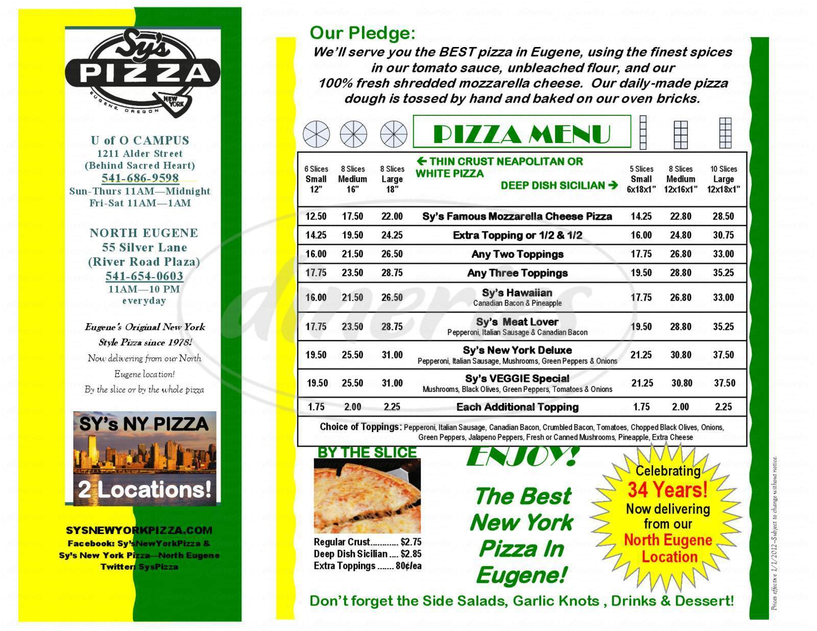 menu for Sy's New York Pizza