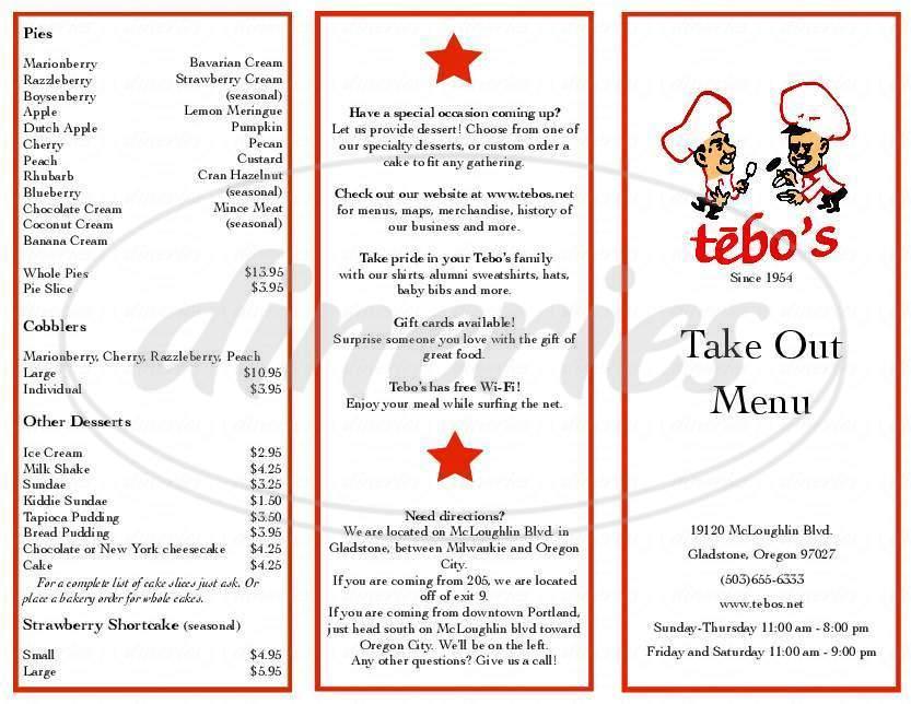 menu for Tebo's Restaurant