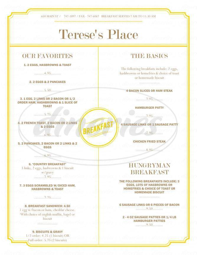 menu for Terese's Place