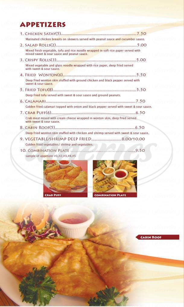 menu for Thai Cabin