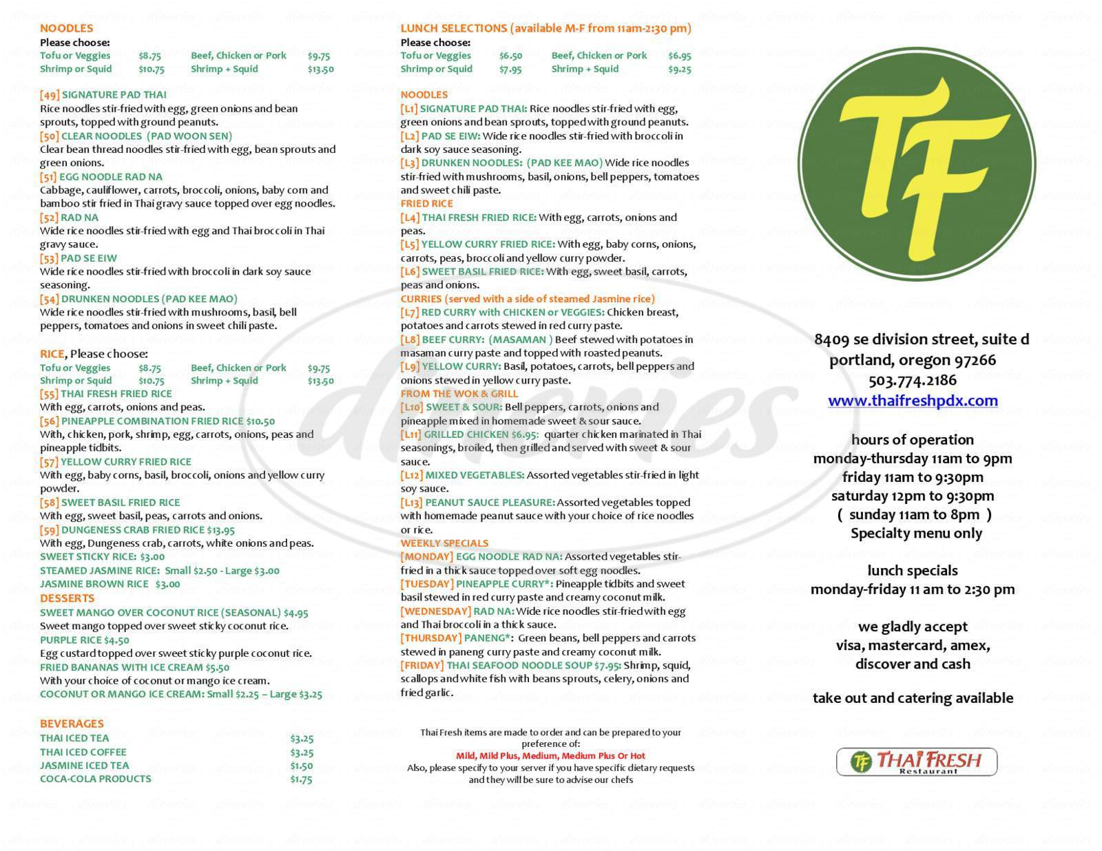 menu for Thai Fresh