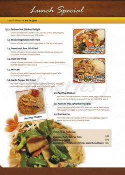 menu for Thai O