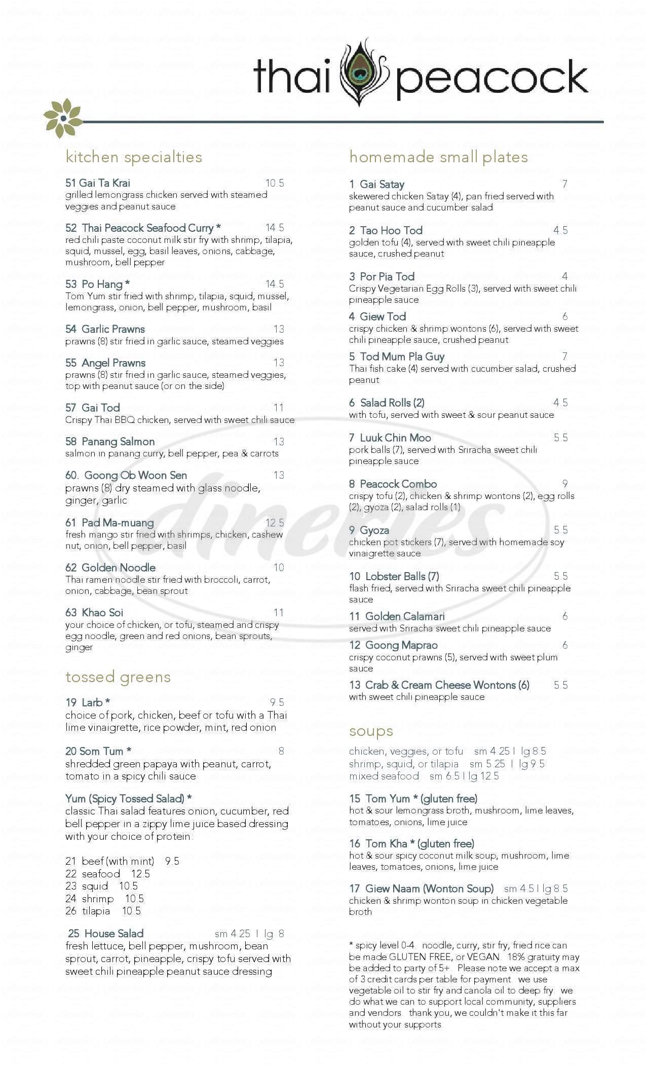 menu for Thai Peacock Restaurant