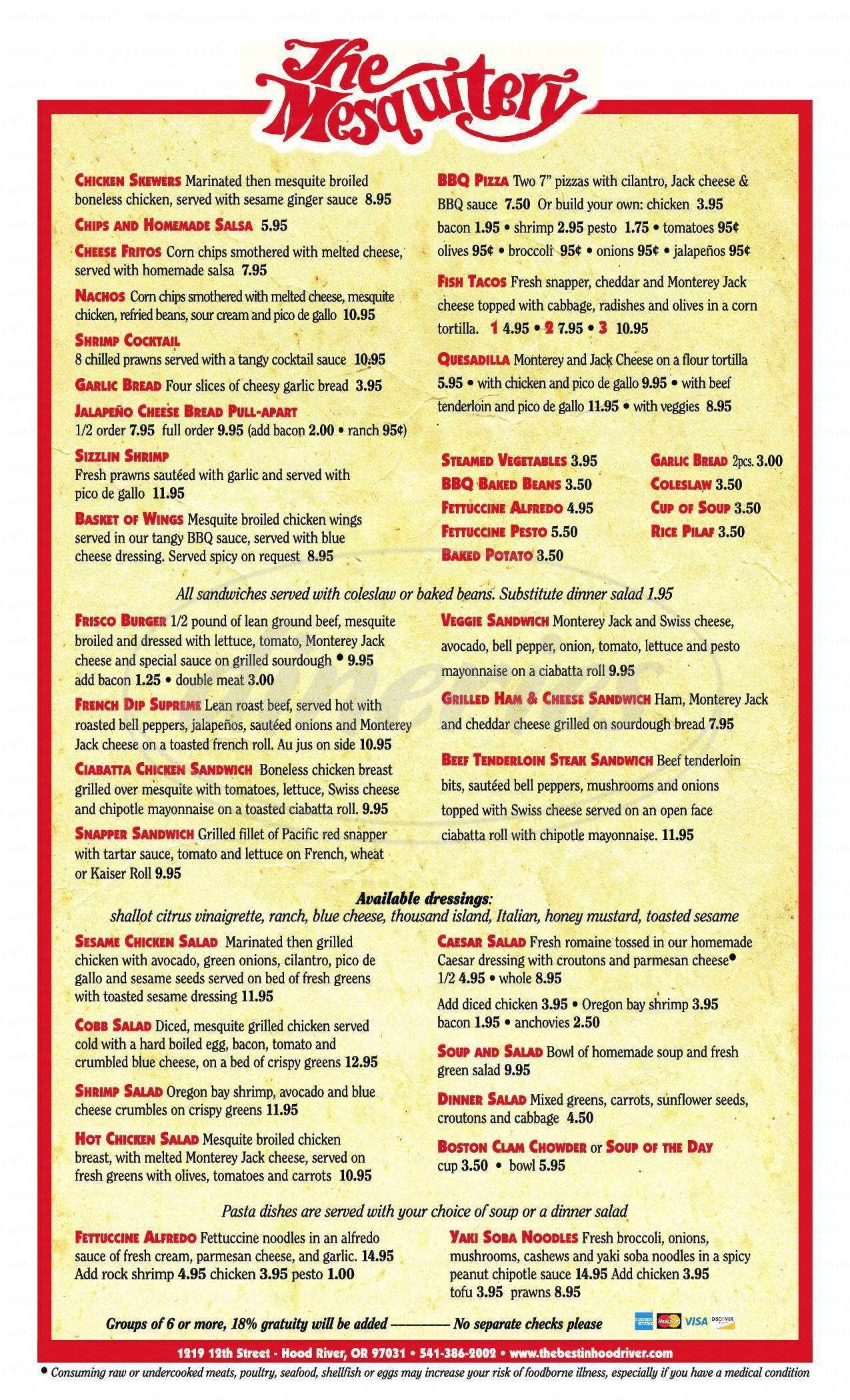 menu for Mesquitery Restaurant & Bar