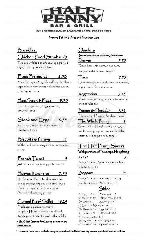menu for Half Penny Bar & Grill