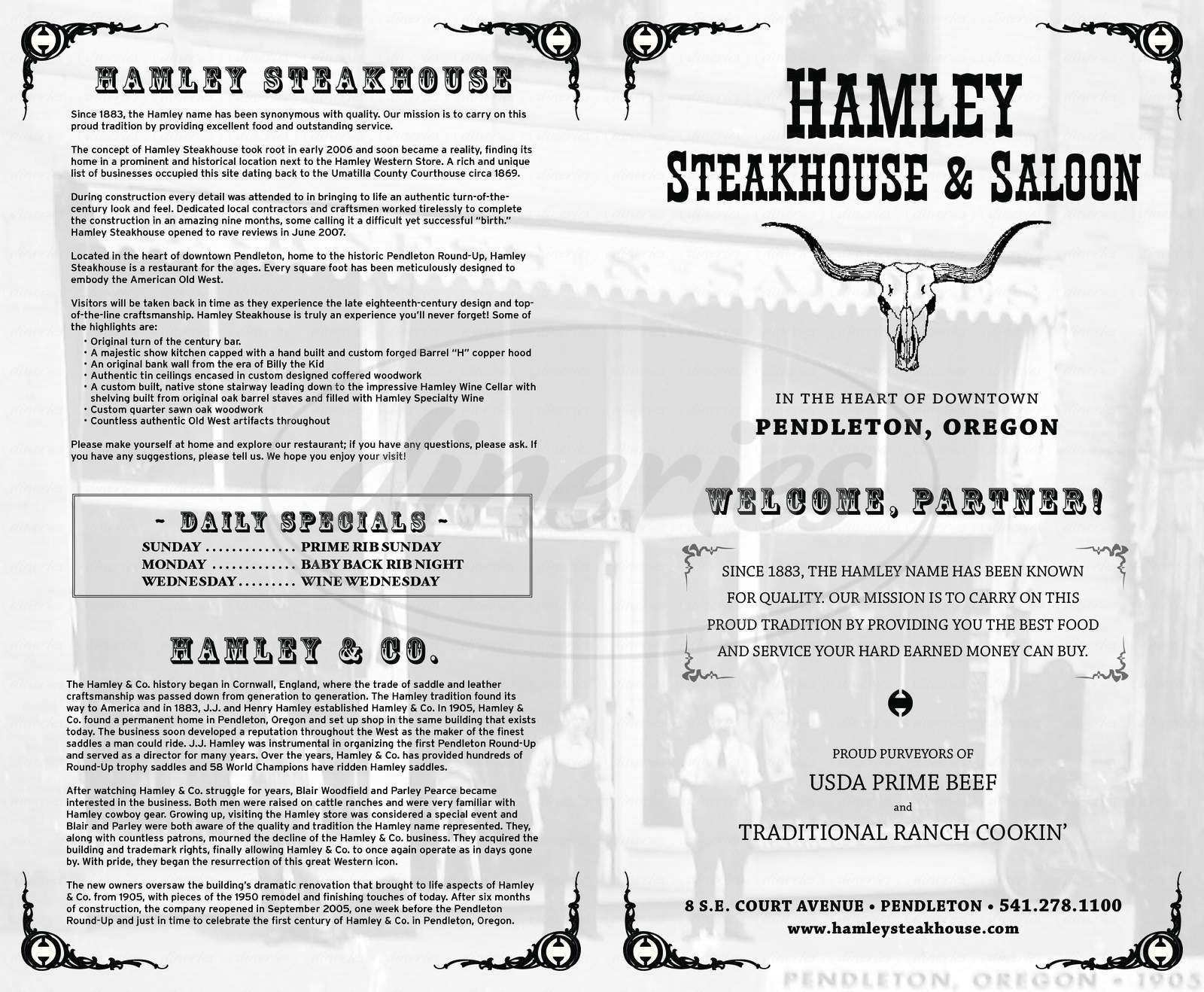 menu for Hamley Steakhouse