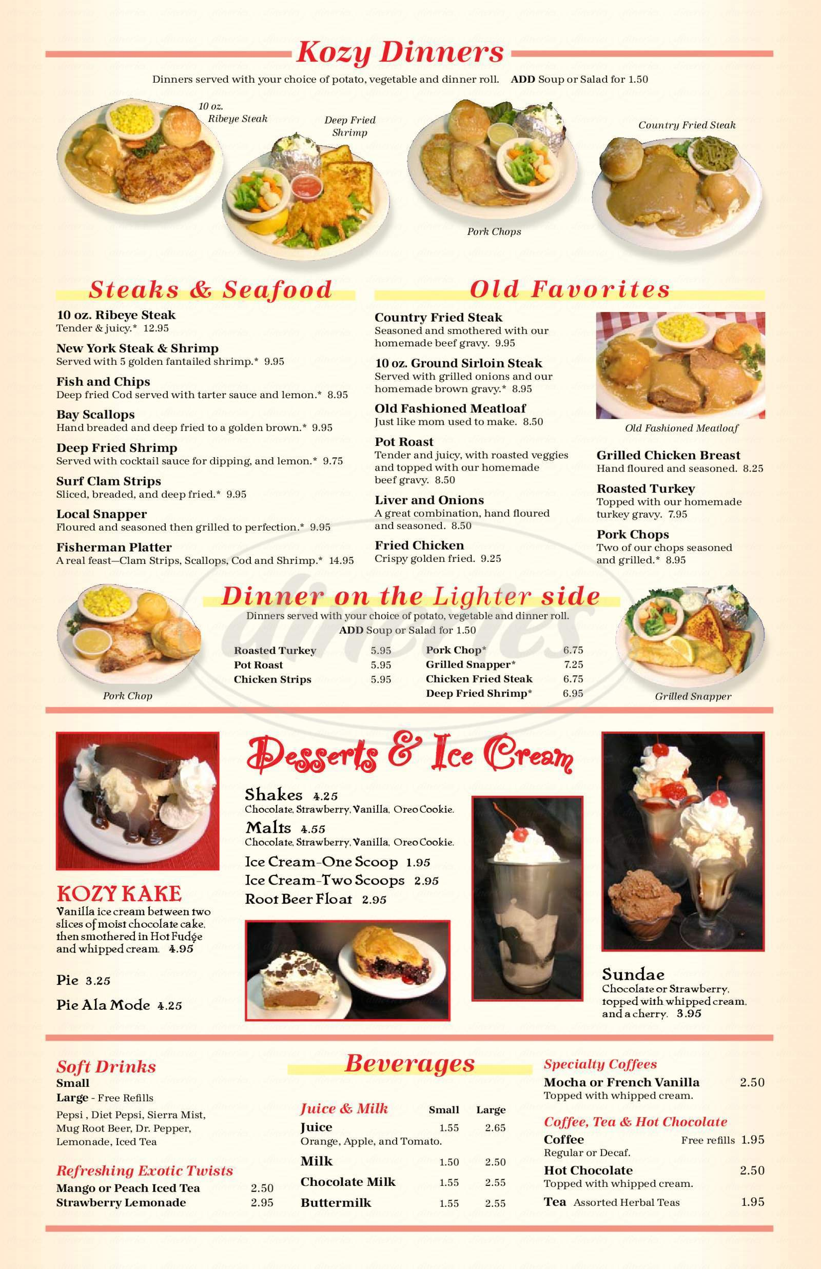 Kozy Kitchen Big Menu - North Bend - Dineries