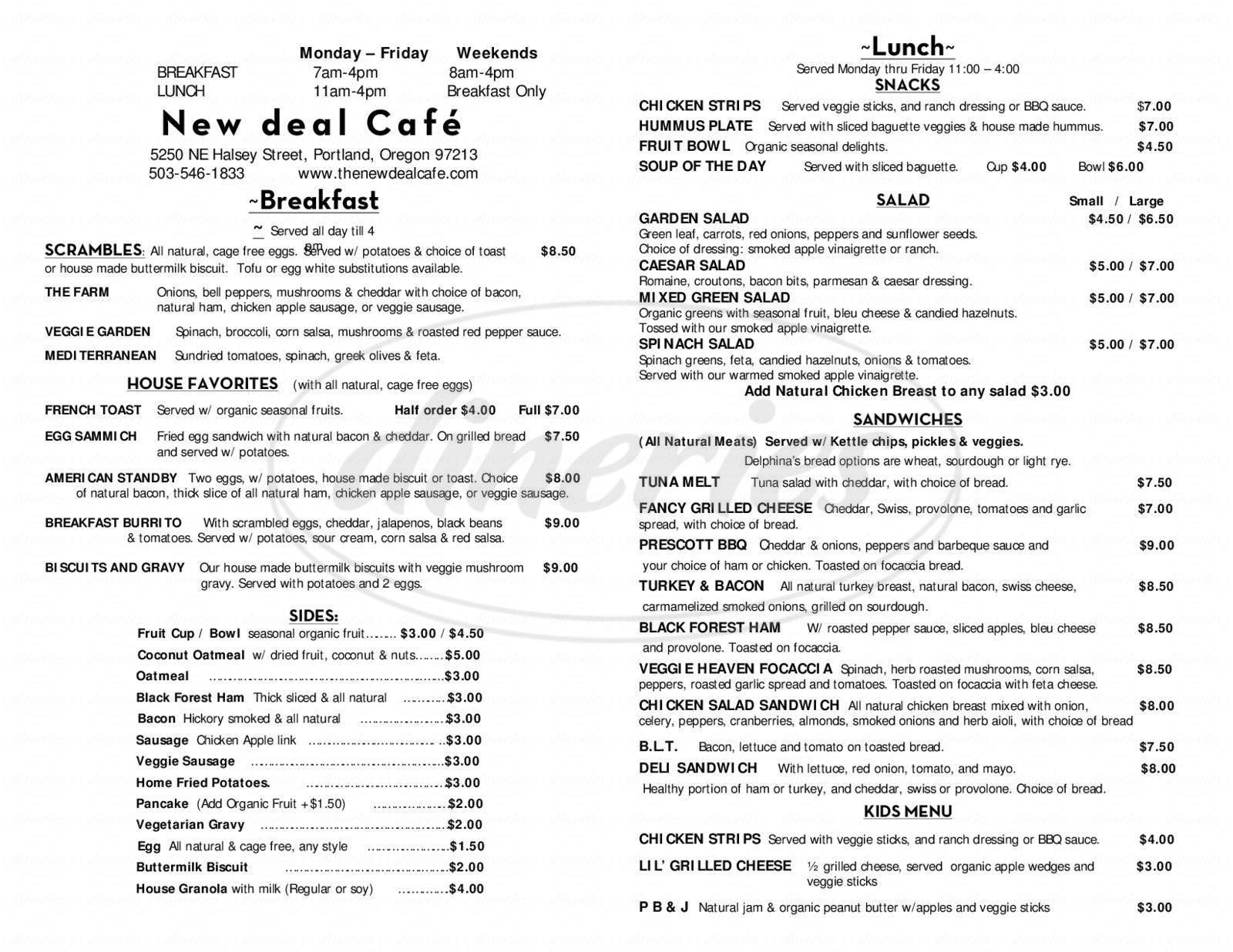 menu for New Deal Cafe