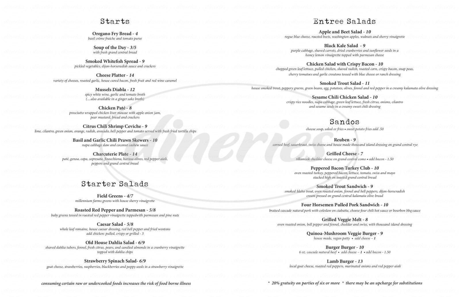 menu for The Observatory