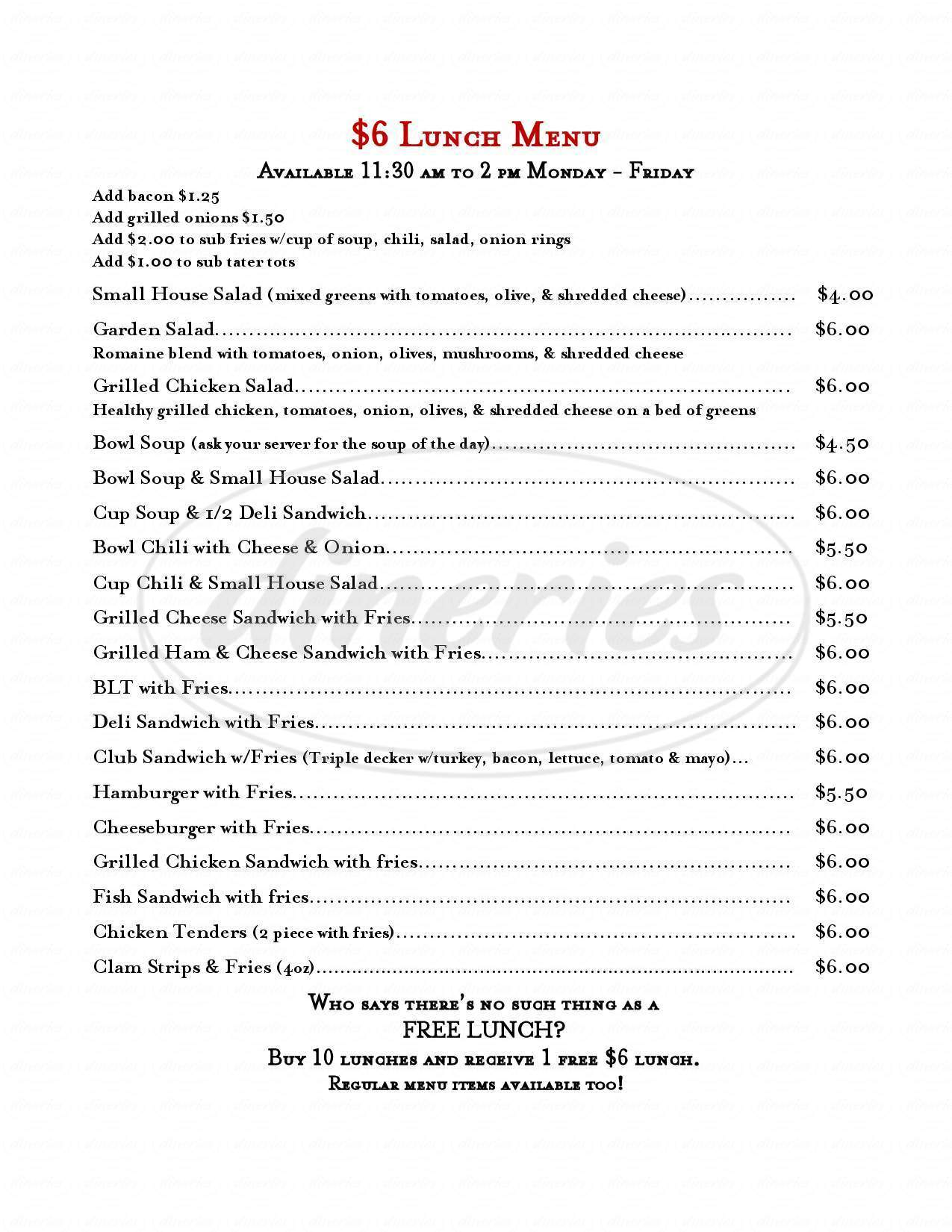 menu for The One Horse Tavern