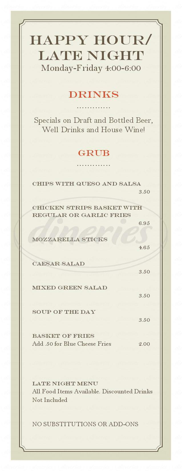 menu for The Point Pub & Grill