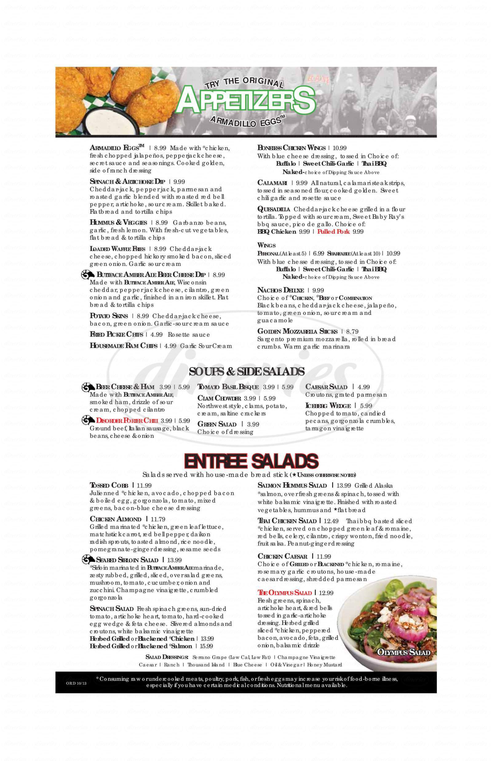 menu for RAM Restaurant & Brewhouse