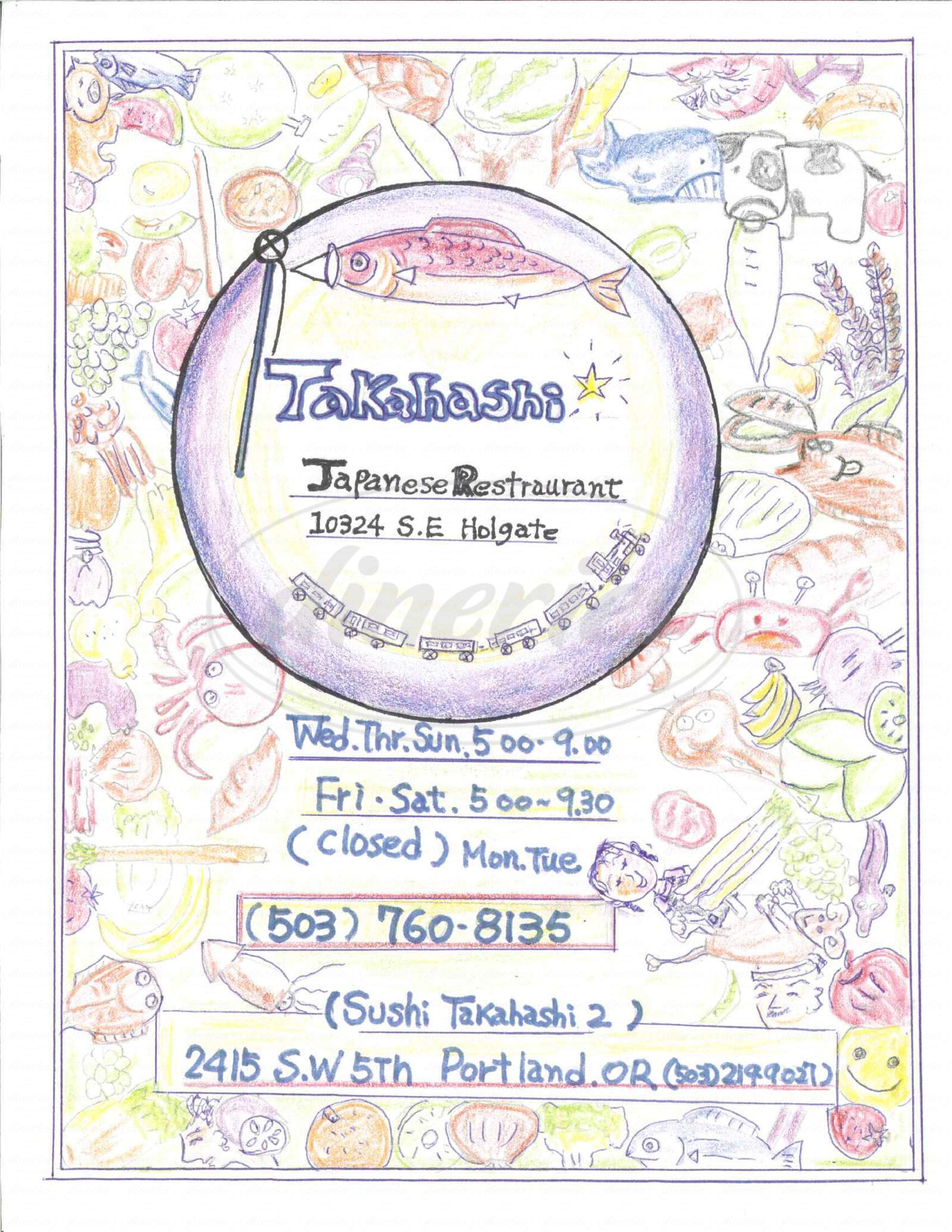 menu for Takahashi