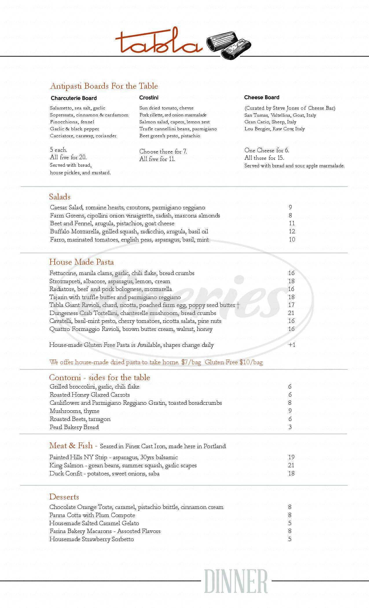 menu for Tabla