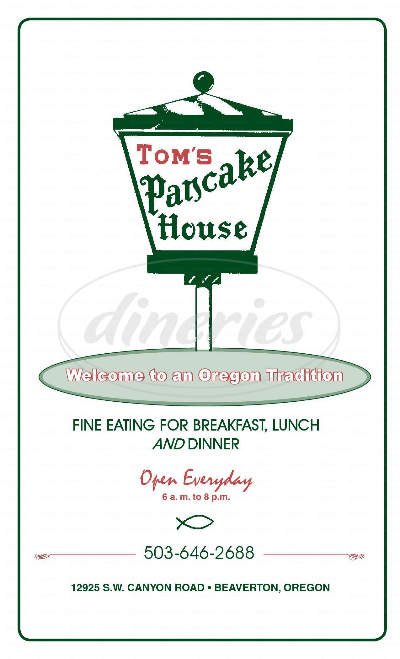 menu for Tom's Pancake House