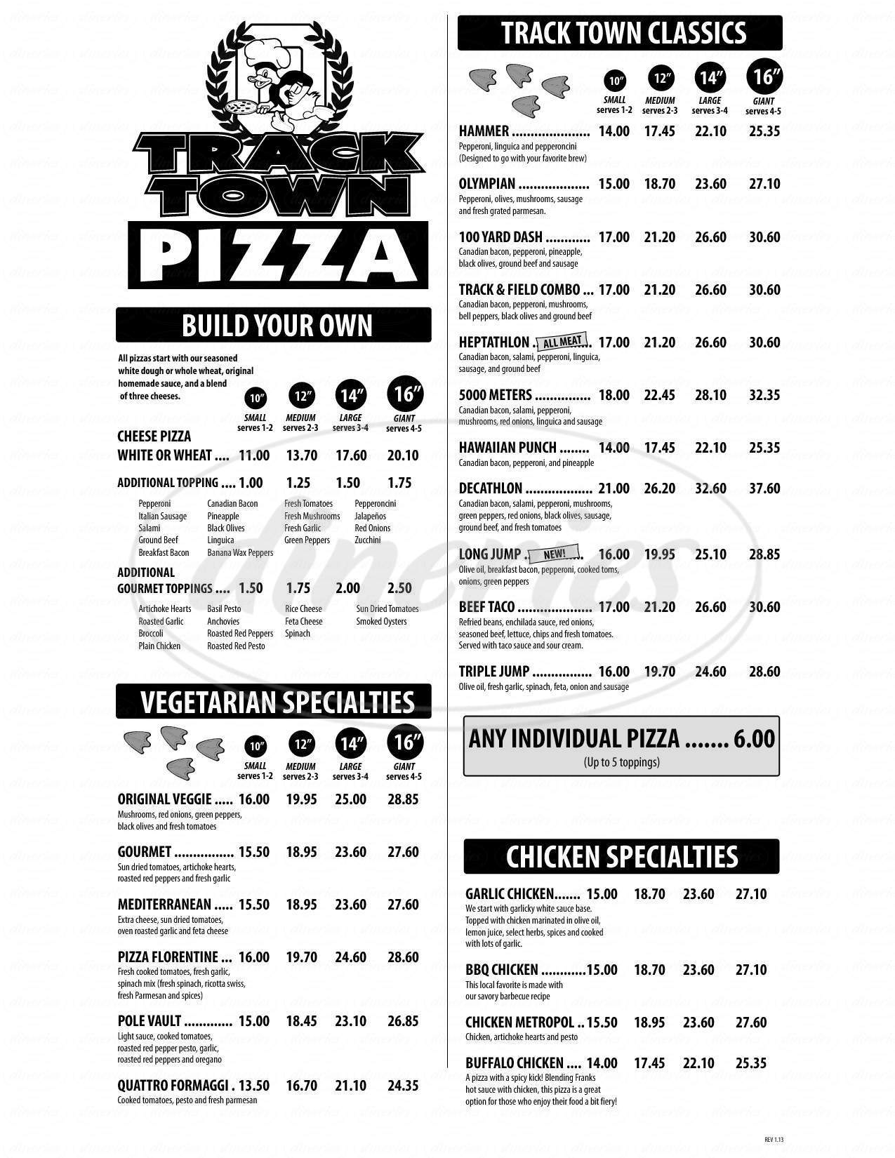 menu for Track Town Pizza