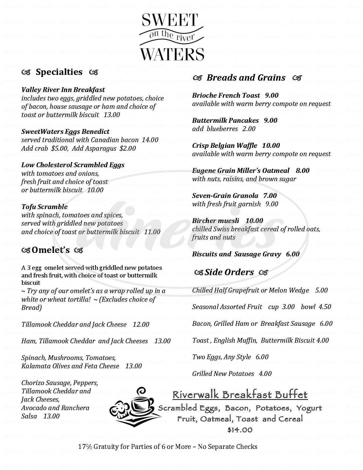menu for Sweetwaters