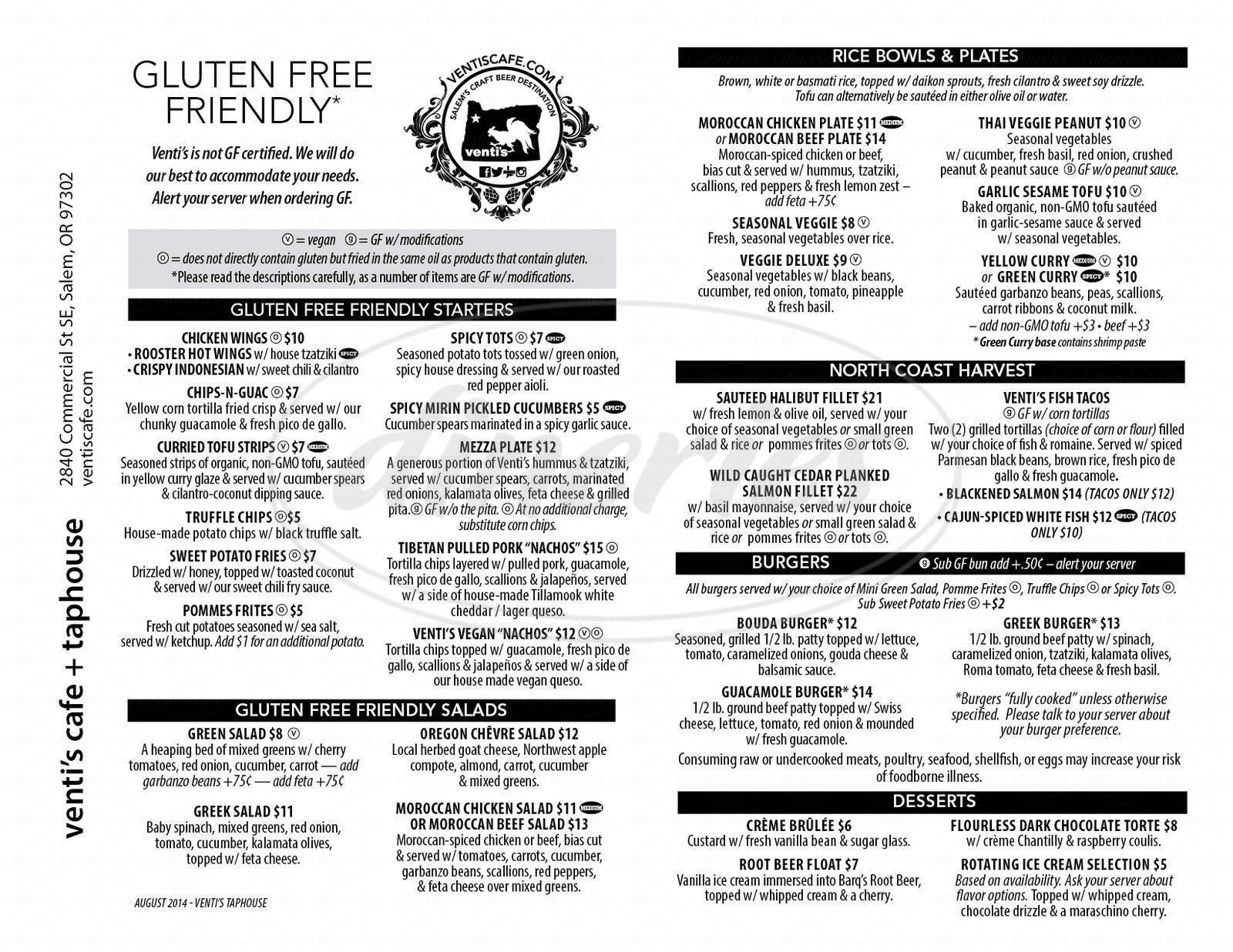 menu for Venti's Cafe + Taphouse